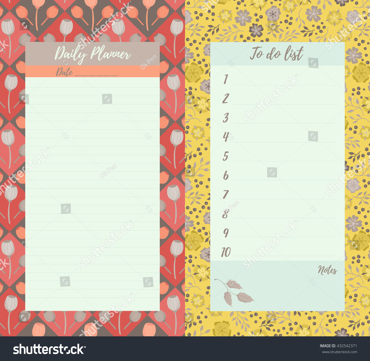 Vector Printable Daily Planner Do List Stock Vector Royalty Free