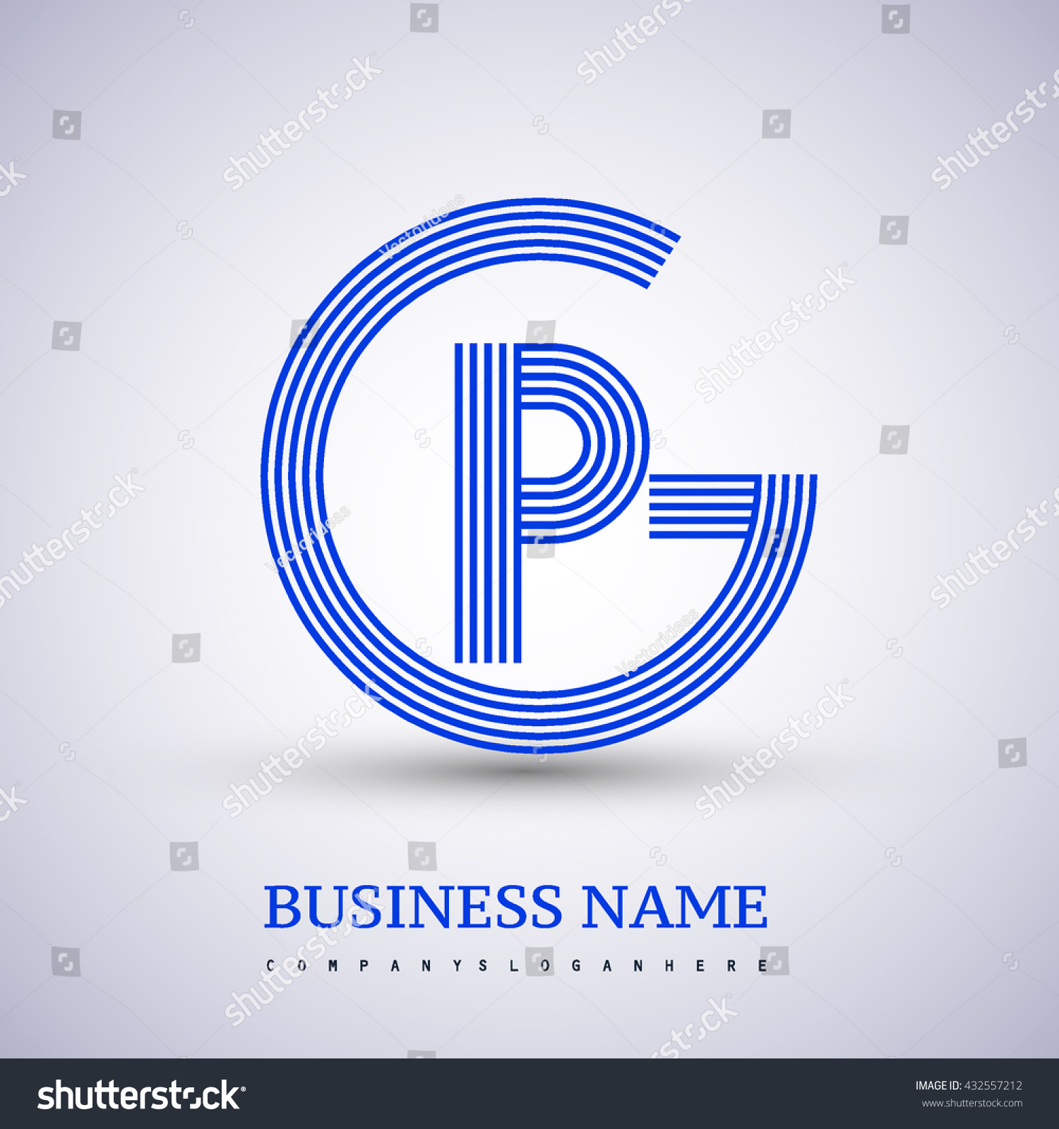 Letter Gp Or Pg Linked Logo Design Circle G Shape Elegant Blue