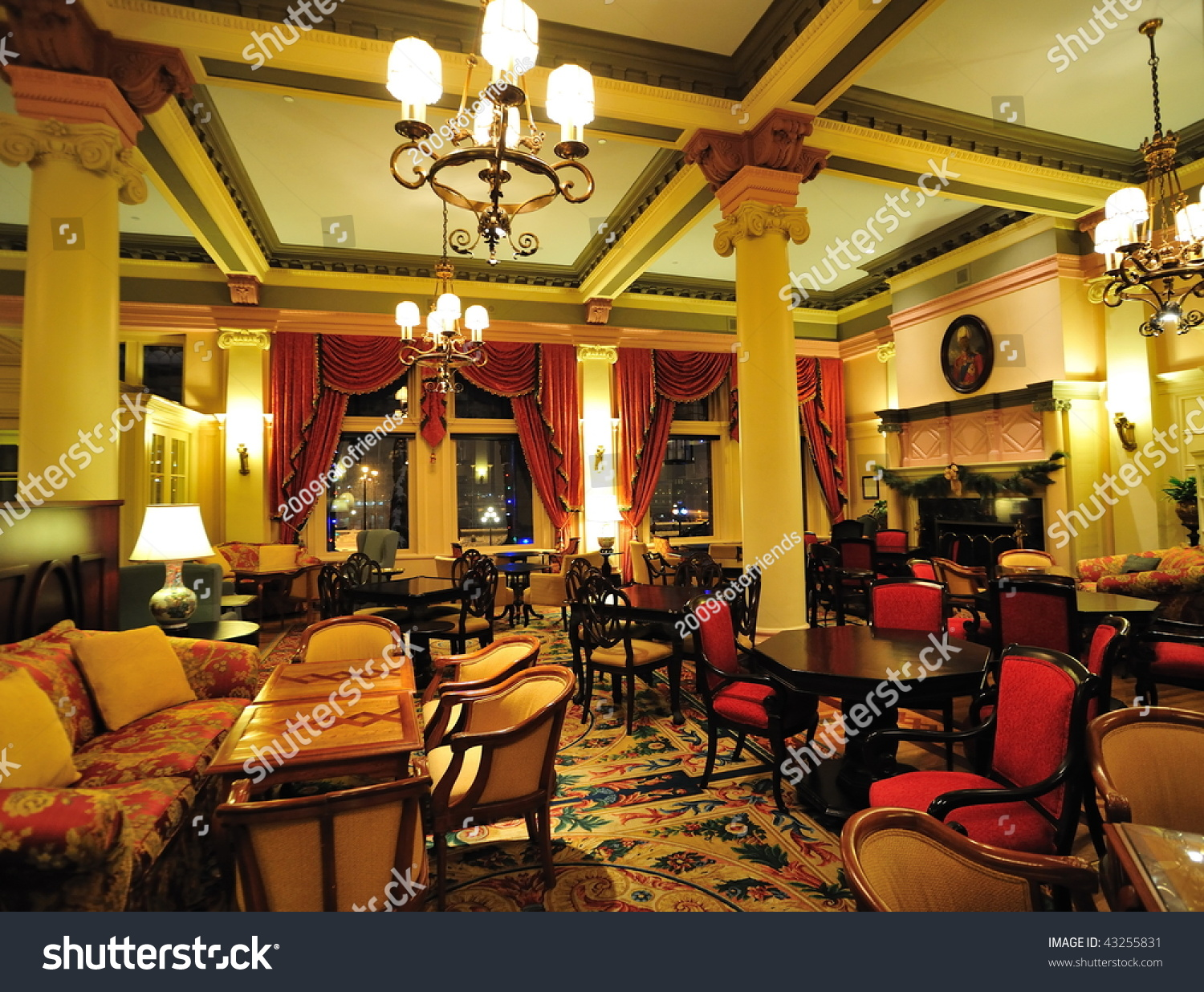 Historic Victorian Style Hotel Lobby Interior Stock Photo