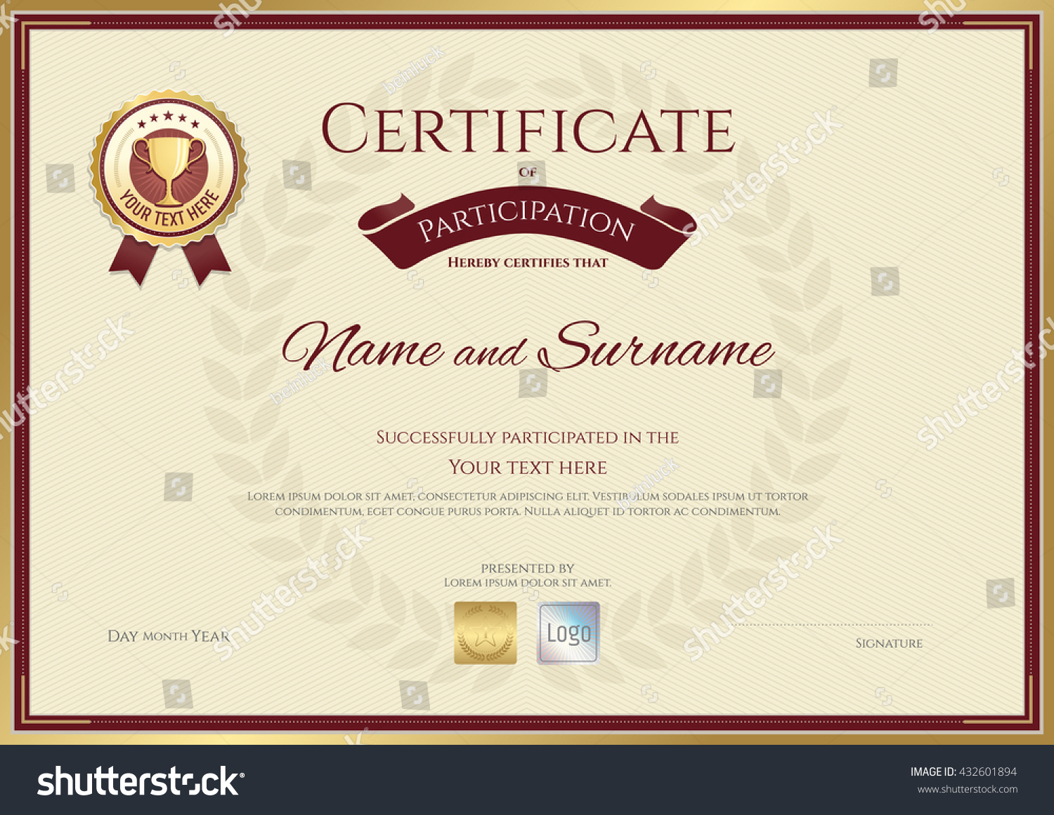 certificate participation template sport theme gold stock vector certificate of participation template in sport theme gold trophy seal on award wreath