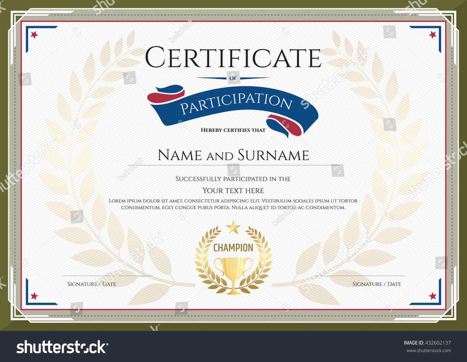 Certificate Participation Template Green Border Gold Stock Photo