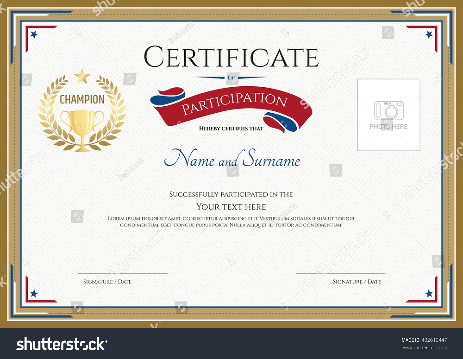 free templates for certificates of participation - certificate participation template gold border gold stock