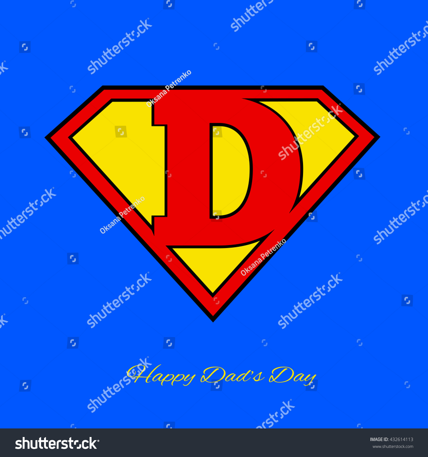Super Dad Shield On Blue Background Stock Vector Royalty Free