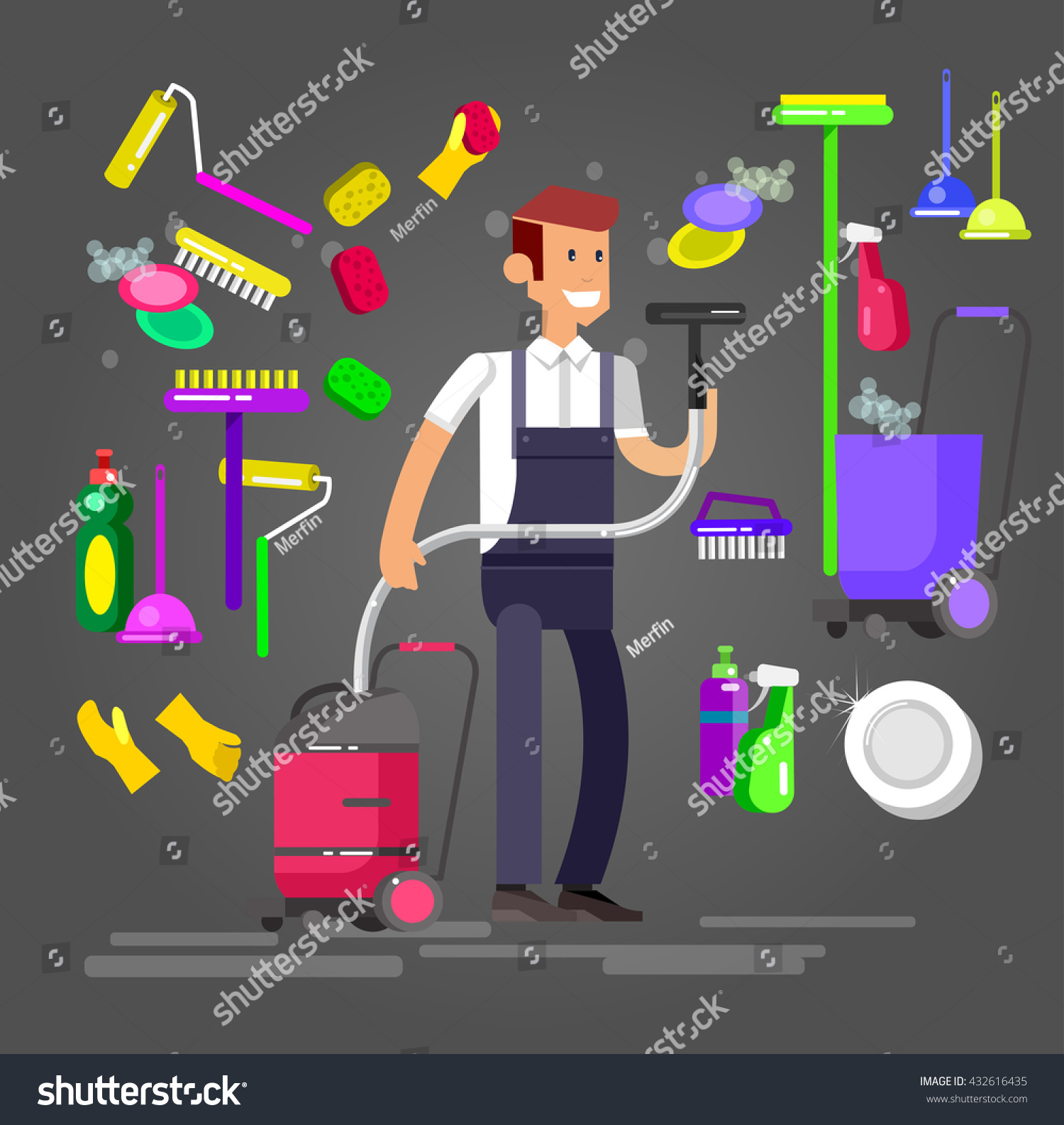 Poster design kit - Poster Design For Cleaning Service And Supplies Vector Detailed Character Professional Housekeeper Cleaning Kit