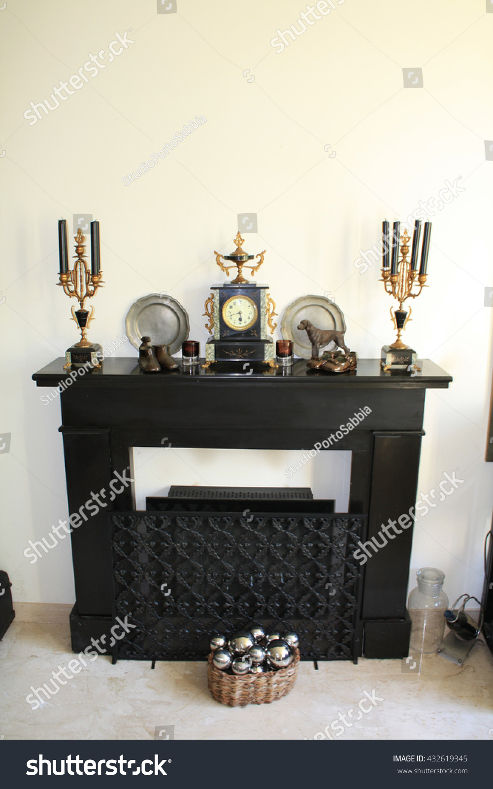 Black Marble Fireplace Antique Clock Matching Stock Photo Edit Now 432619345