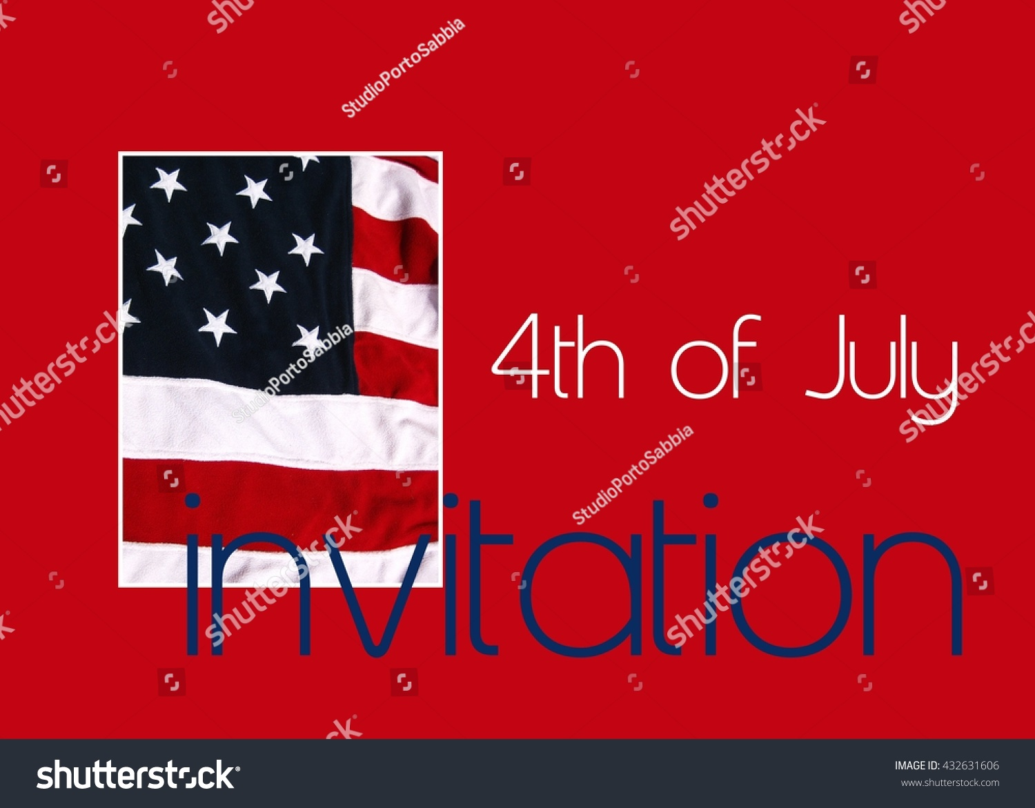 4th July Party Invitation American Flag Stock Illustration 432631606 ...