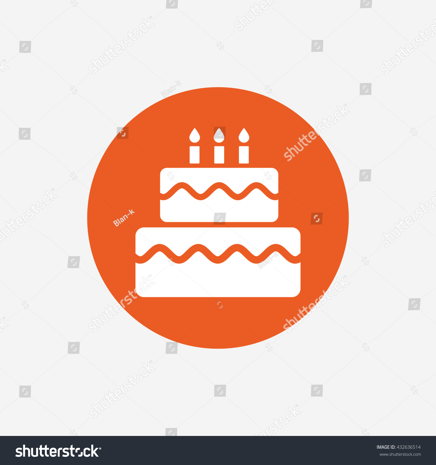 Birthday Cake Sign Icon Cake Burning Stock Illustration 432636514