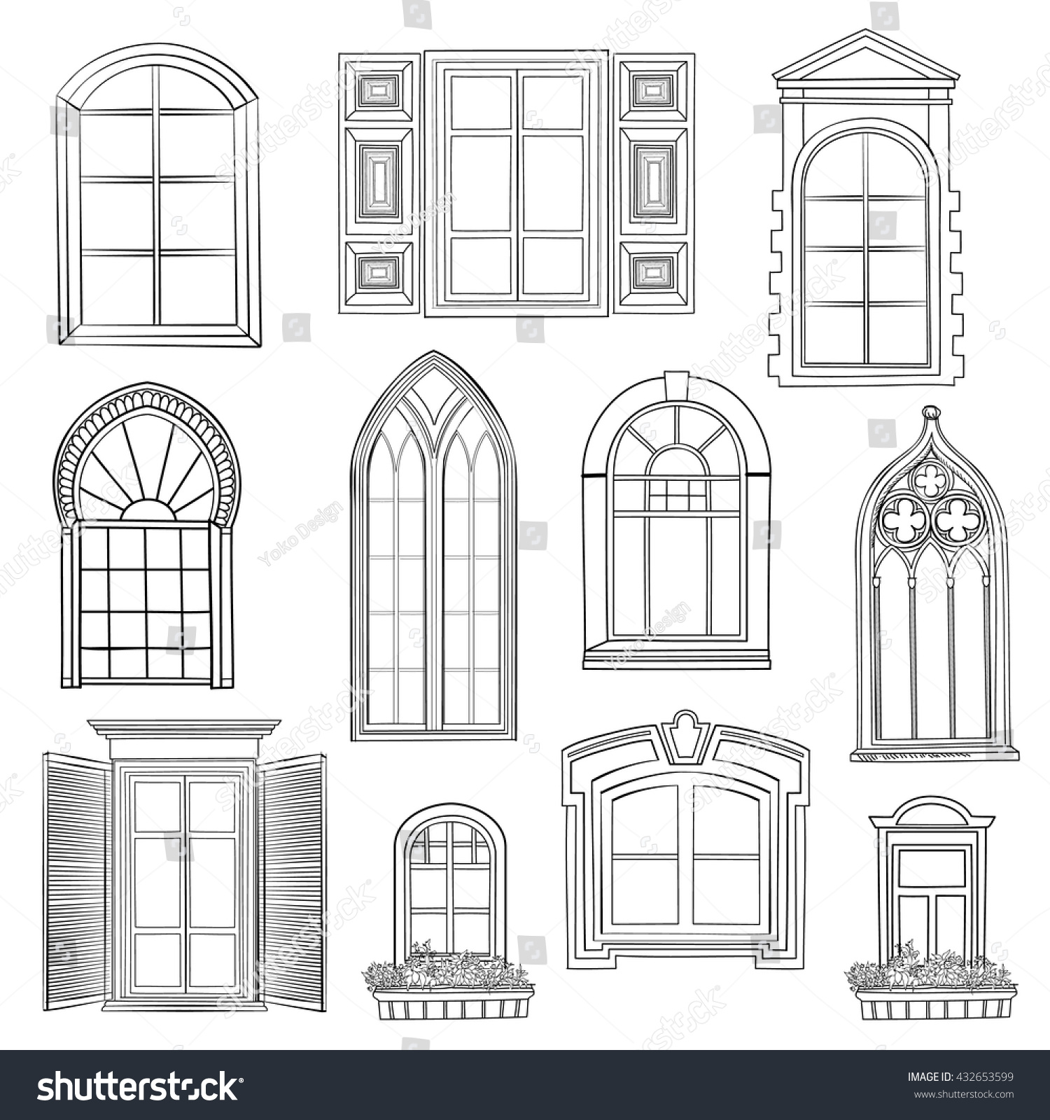 Window Set Different rchitectural Style Windows Stock Vector ... - ^