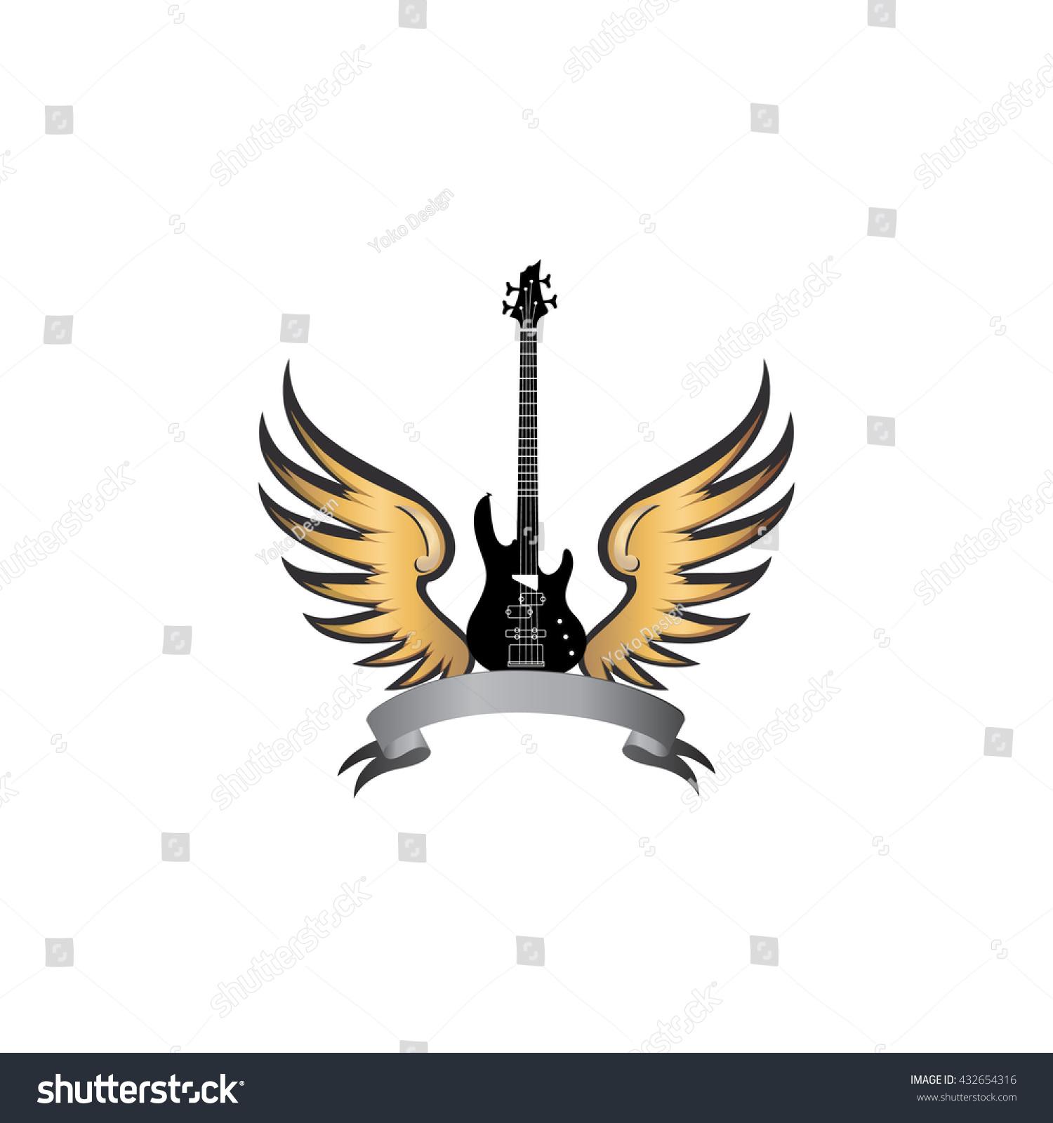 Rock Music Symbol Electric Guitar Wings Stock Vector Royalty Free