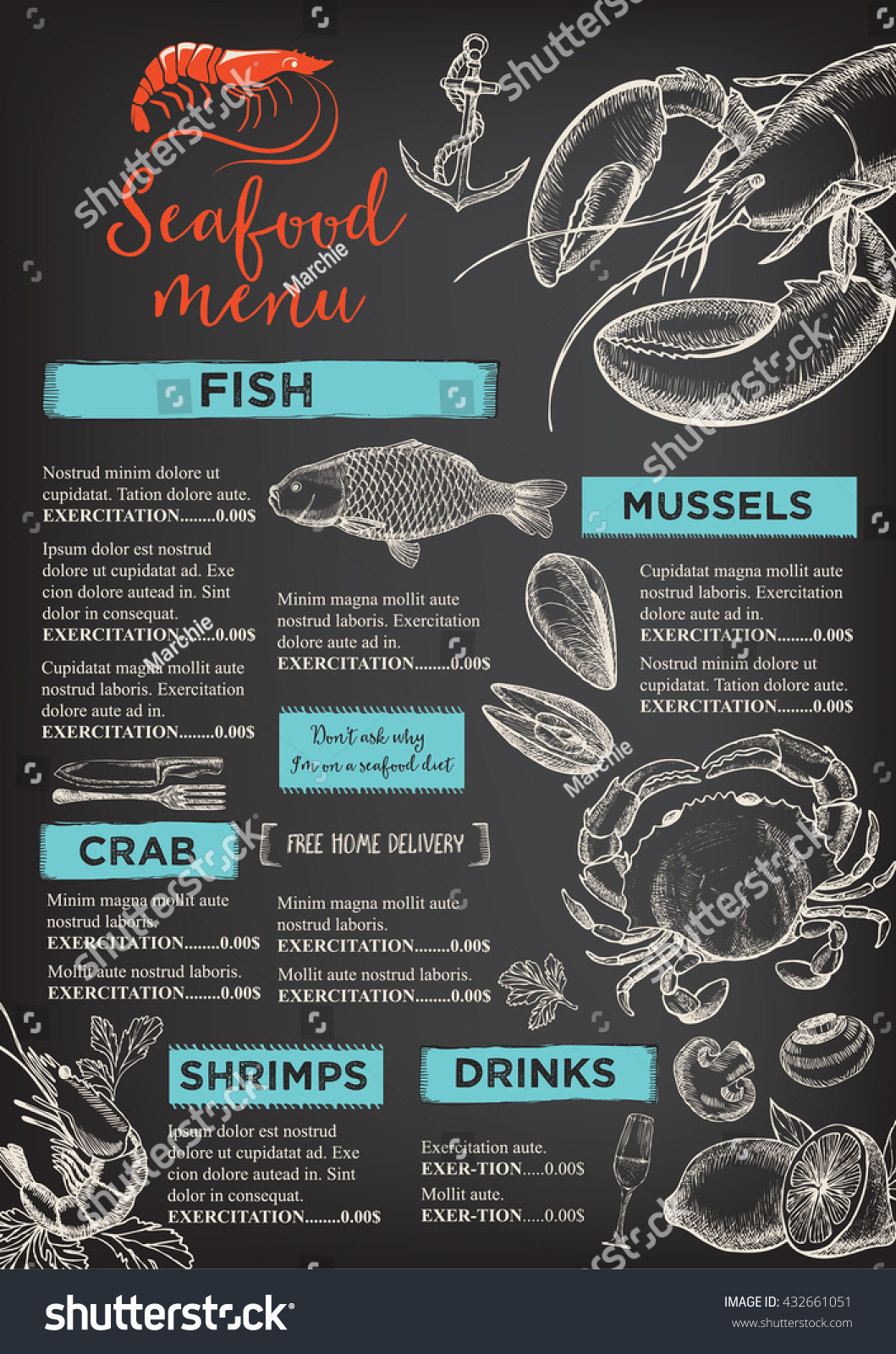 Restaurant Brochure Design Vector : Seafood restaurant brochure menu design vector stock