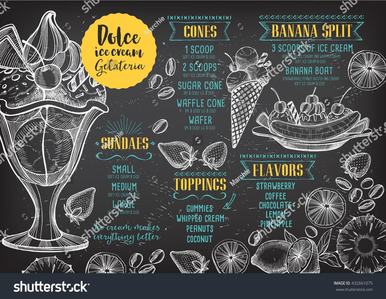 Ice Cream Menu Placemat Food Restaurant Stock Vector HD (Royalty ...