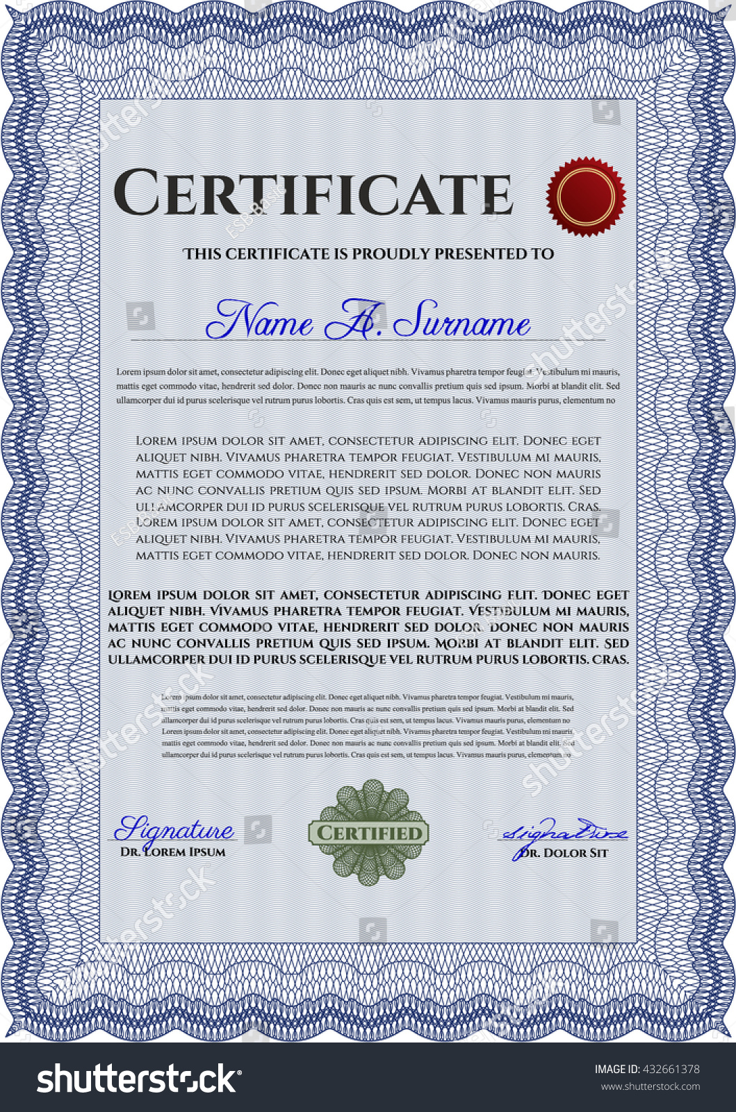 Certificate Template Eps10 Jpg Of Achievement Diploma Vector