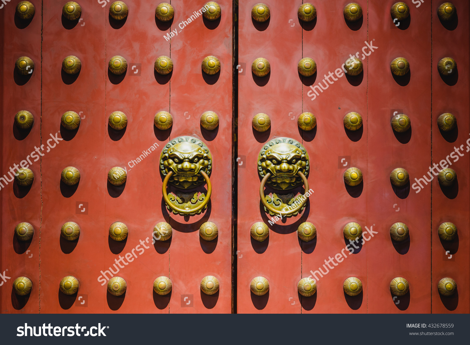 Old chinese door style with lion head knocker