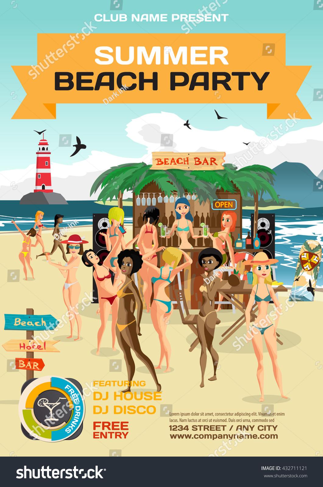 vector summer party invitation beach style のベクター画像素材