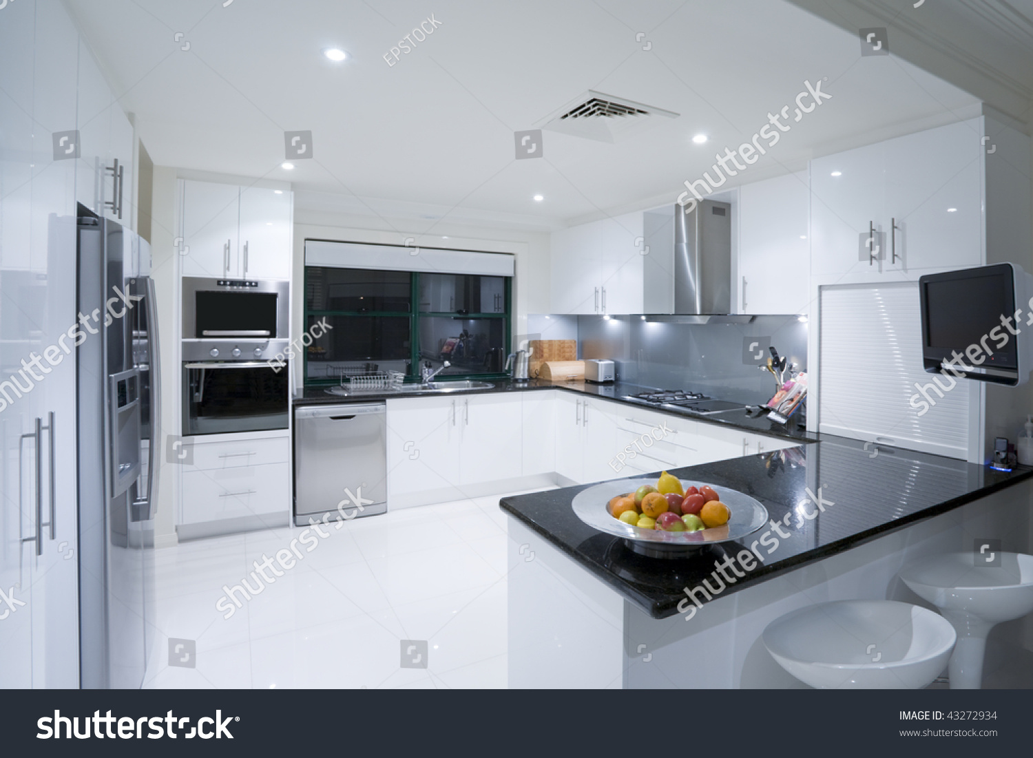 Modern kitchen luxury australian mansion stock photo for Luxury modern kitchen