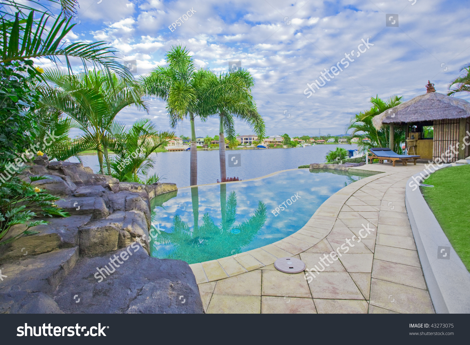Waterfront Mansion With Pool And Bali Hut Overlooking The Canal Stock Photo 43273075 Shutterstock