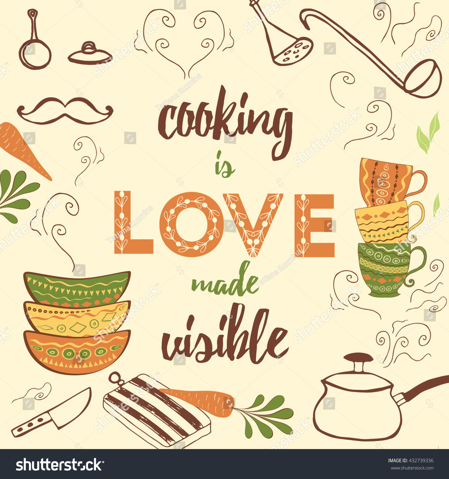 Positive Kitchen Quote Cooking Love Made Stock Vector