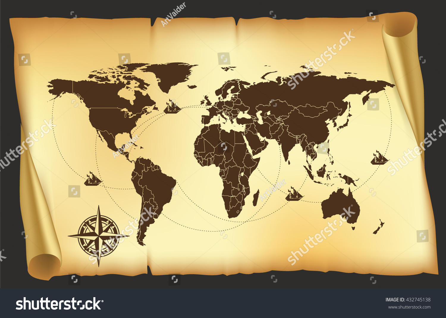 Map old map pirates map world stock vector 432745138 shutterstock map old map pirates map world map gumiabroncs Images