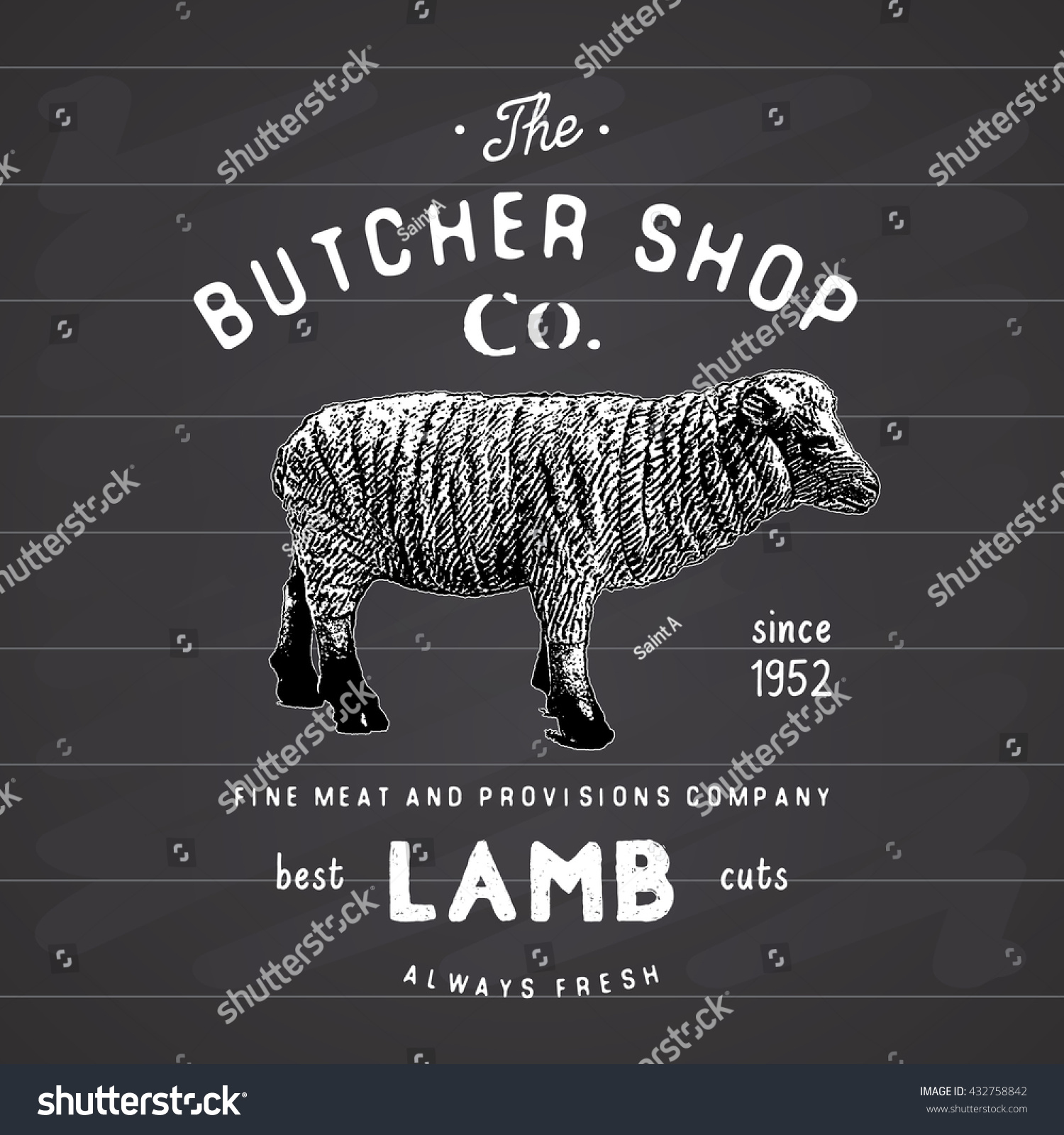 Butcher Shop Vintage Emblem Lamb Meat Stock Vector (Royalty Free ...