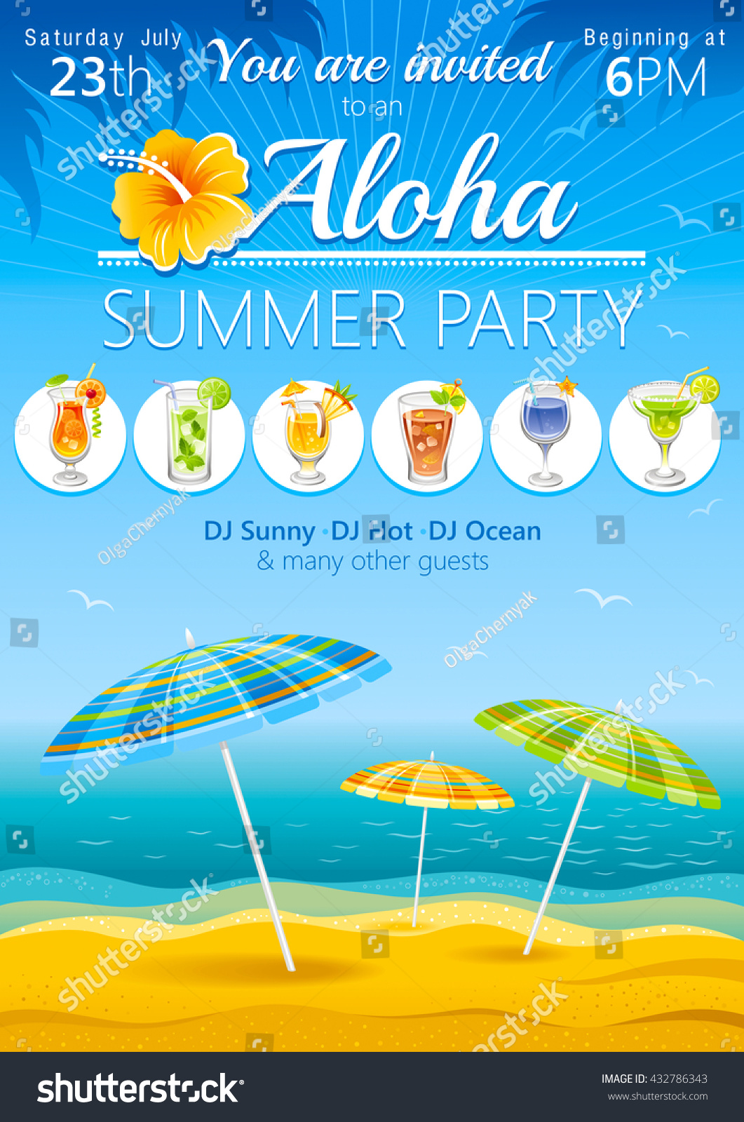 aloha luau beach party vector flyer stock vector royalty free
