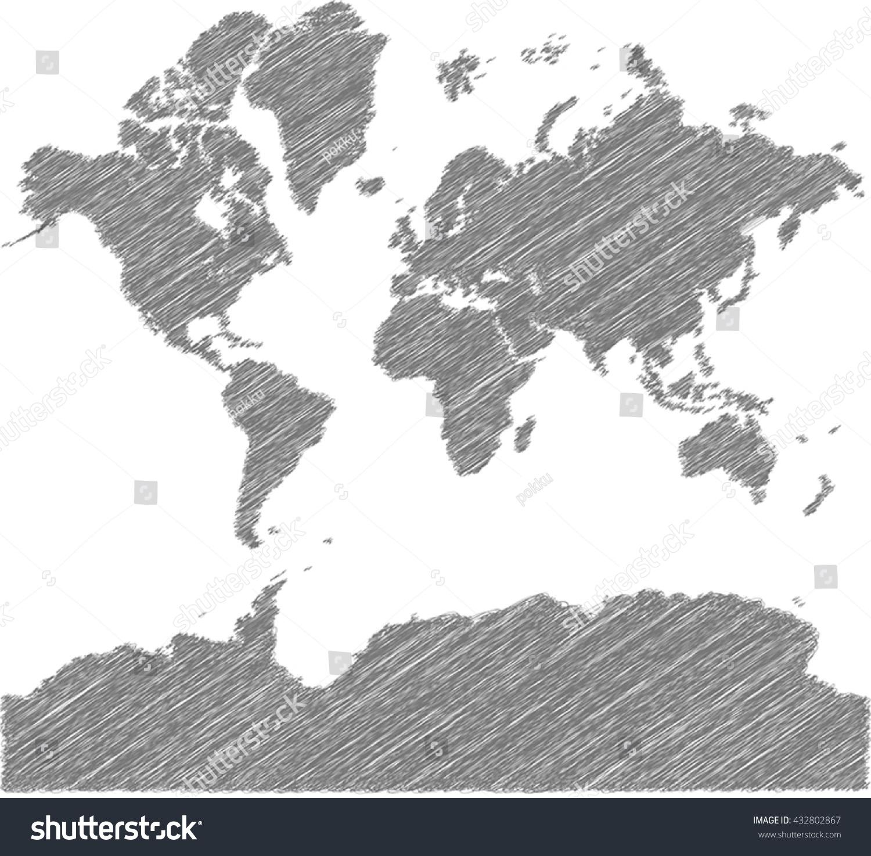 Vector world map sketch schem artistic stock vector 432802867 vector world map sketch schem artistic gumiabroncs Choice Image