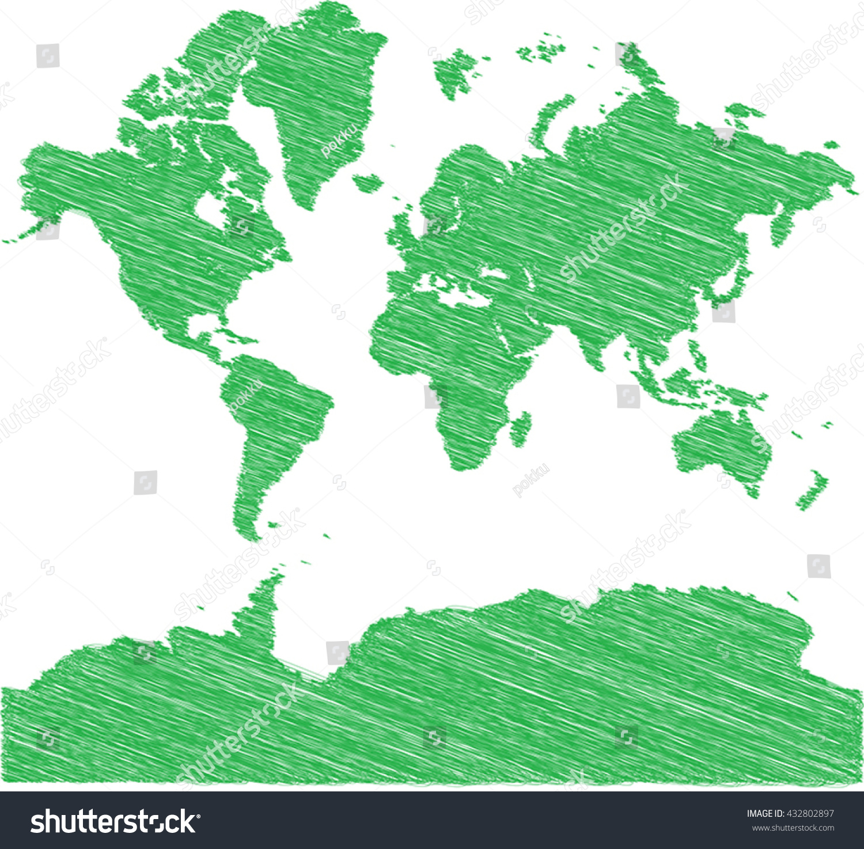 Vector World Map Sketch Schem Artistic Stock Vector - Artistic world map