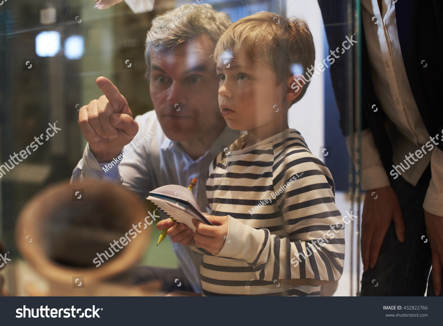 Father And Son Look At Artifacts In Case On Trip To Museum #432822766
