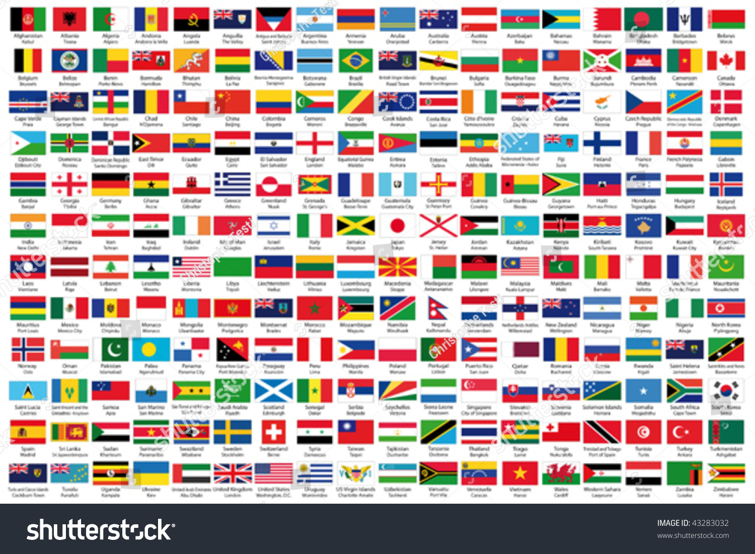 Official Flags World Alphabetical Order Stock Vector - All country name and capital