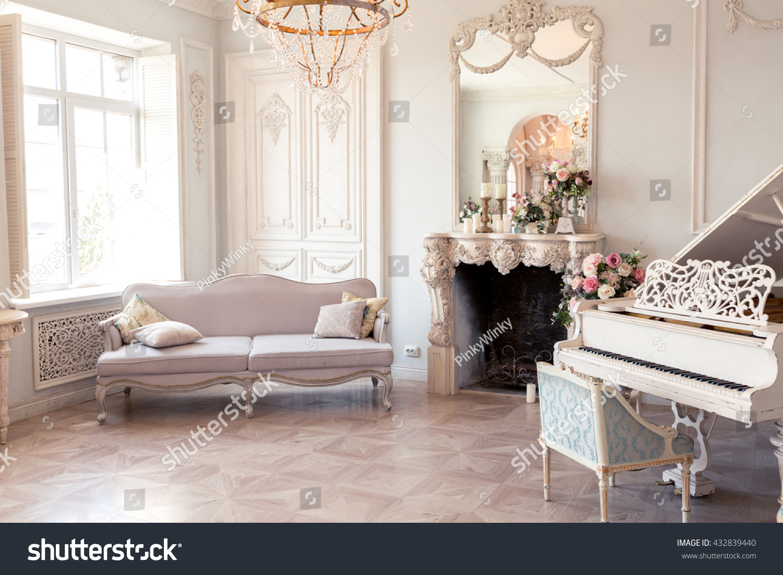 Luxury Light Interior Sitting Room Old Stock Photo & Image (Royalty ...