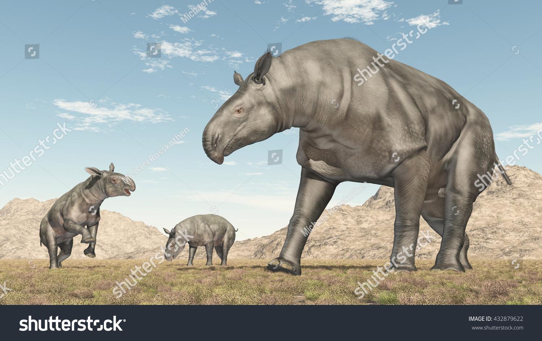 Adult Paraceratherium and baby Paraceratherium Computer generated 3D illustration #432879622