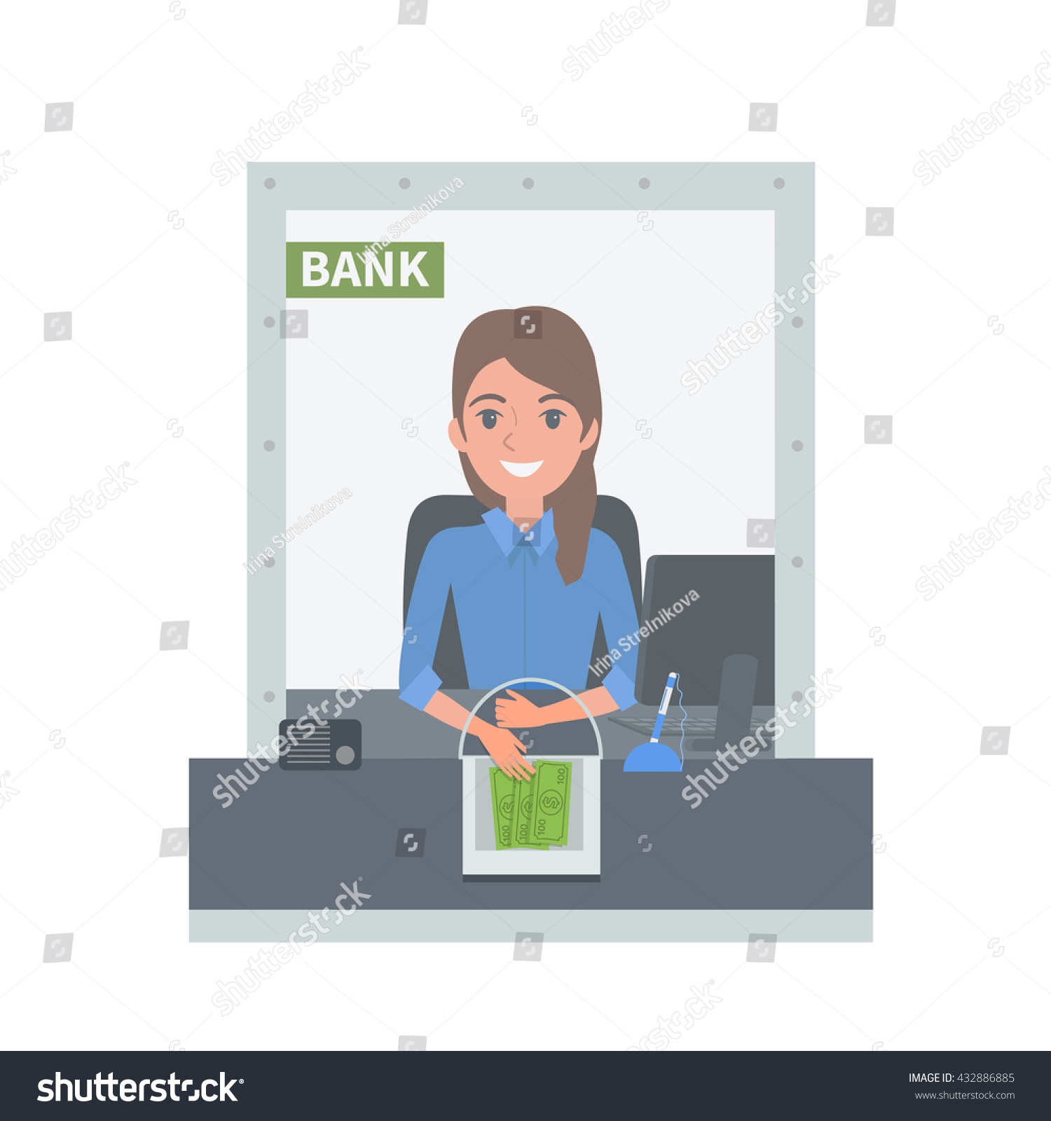 bank cashier behind cash department window stock vector 432886885 bank cashier behind cash department window vector concept illustration