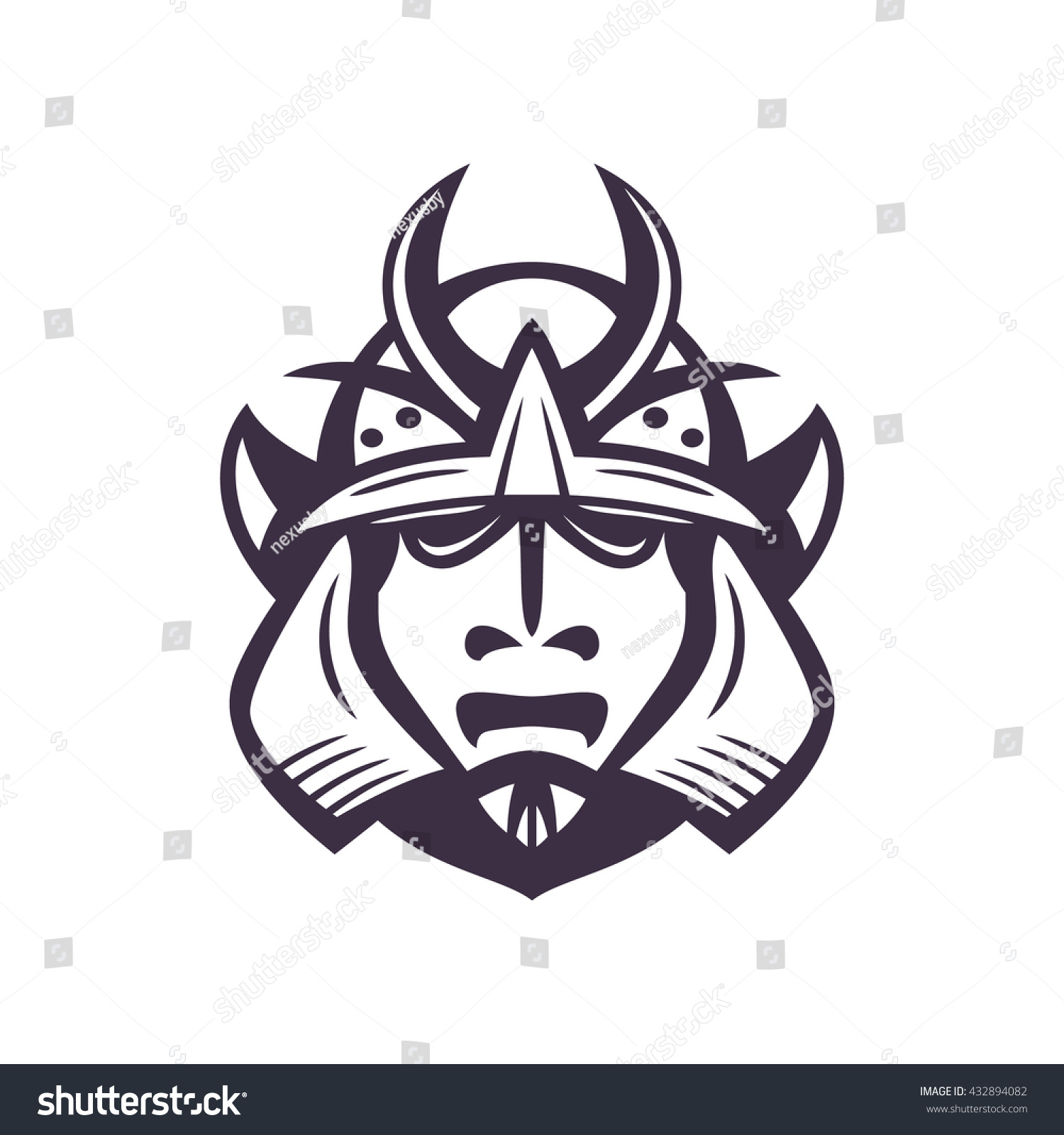 Samurai Helmet Japanese Facial Armour Worn Stock Vector 432894082