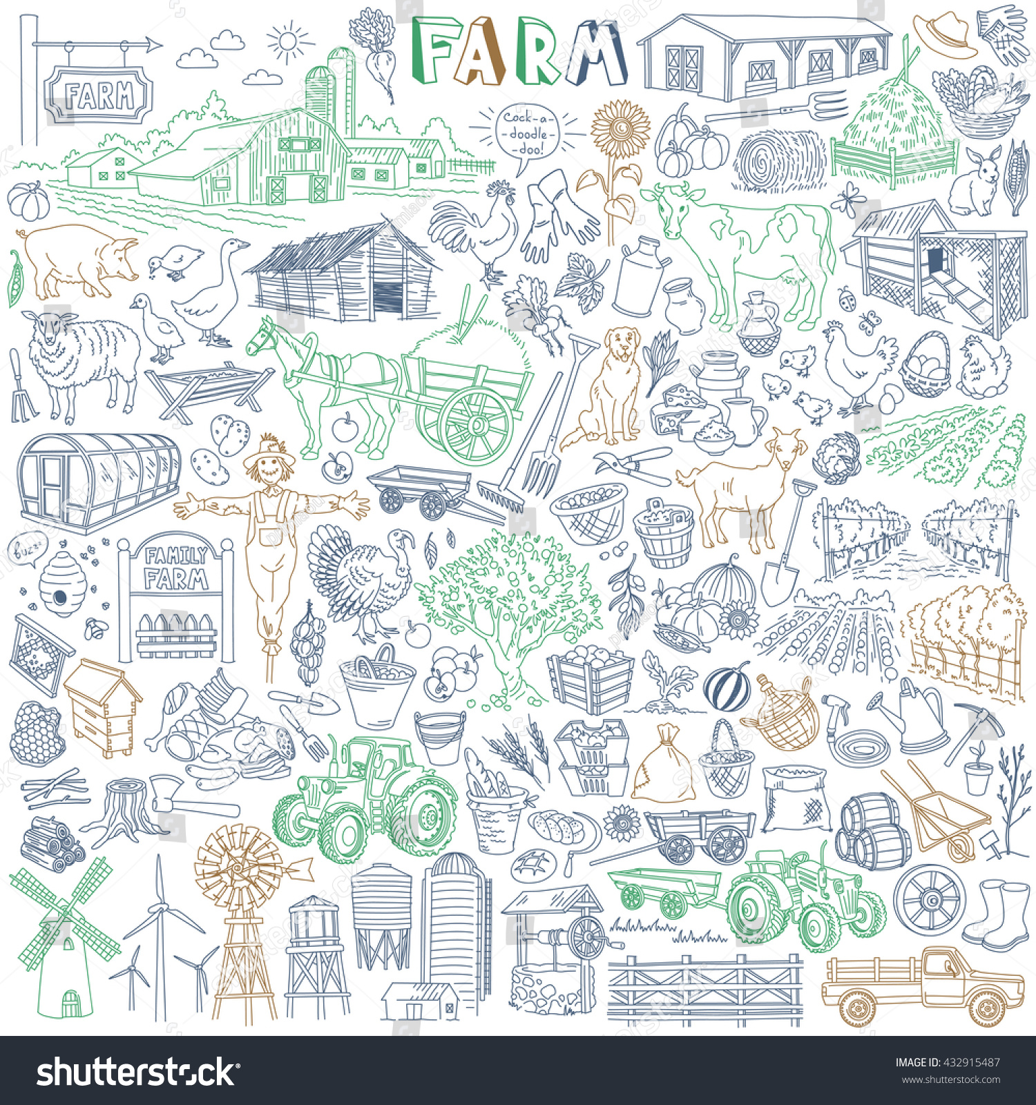 farm vector drawings collection various types stock vector