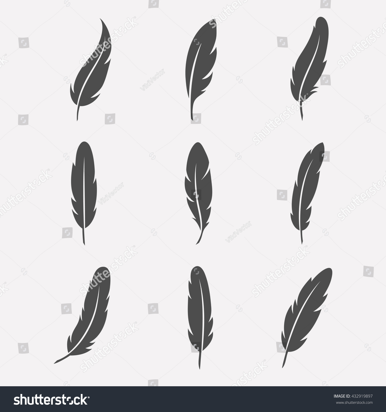 Feathers vector set in a flat style. Icons feathers isolated on a light background.