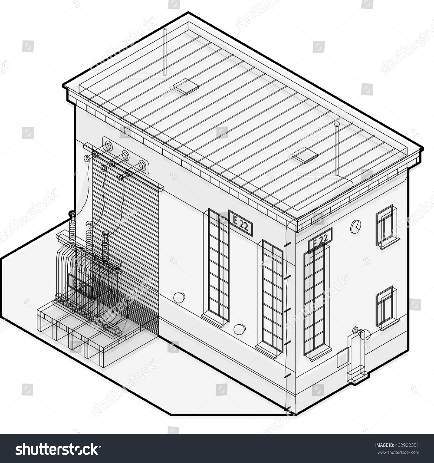 Electric Transformer Isometric Building Info Graphic Stock Vector Isolation Wiring Diagram Looking For An Advice To Build Outline High Voltage Power Station Old Plant