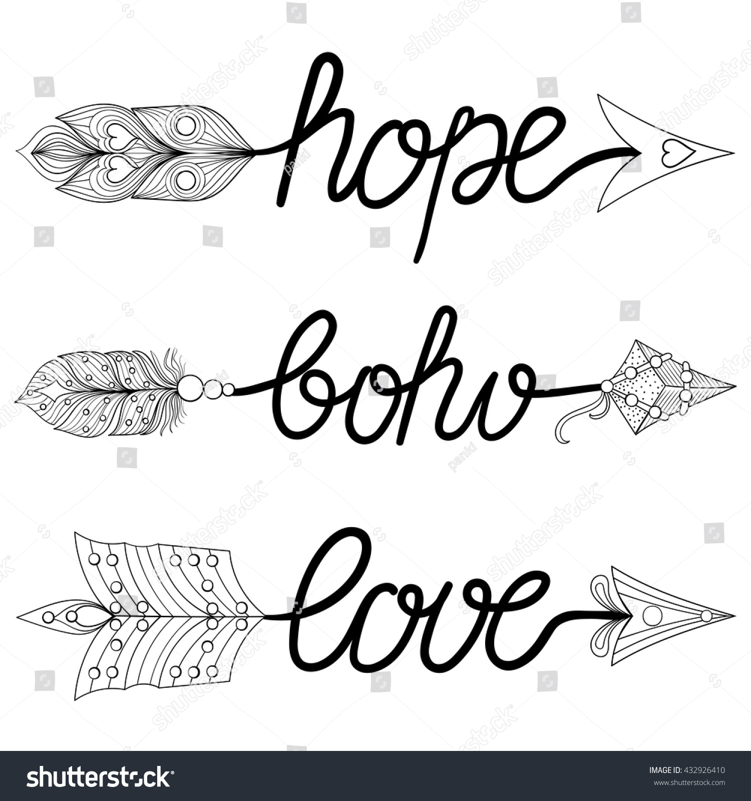Hope Arrows. Hand drawn Signs with feathers for adult coloring pages ...