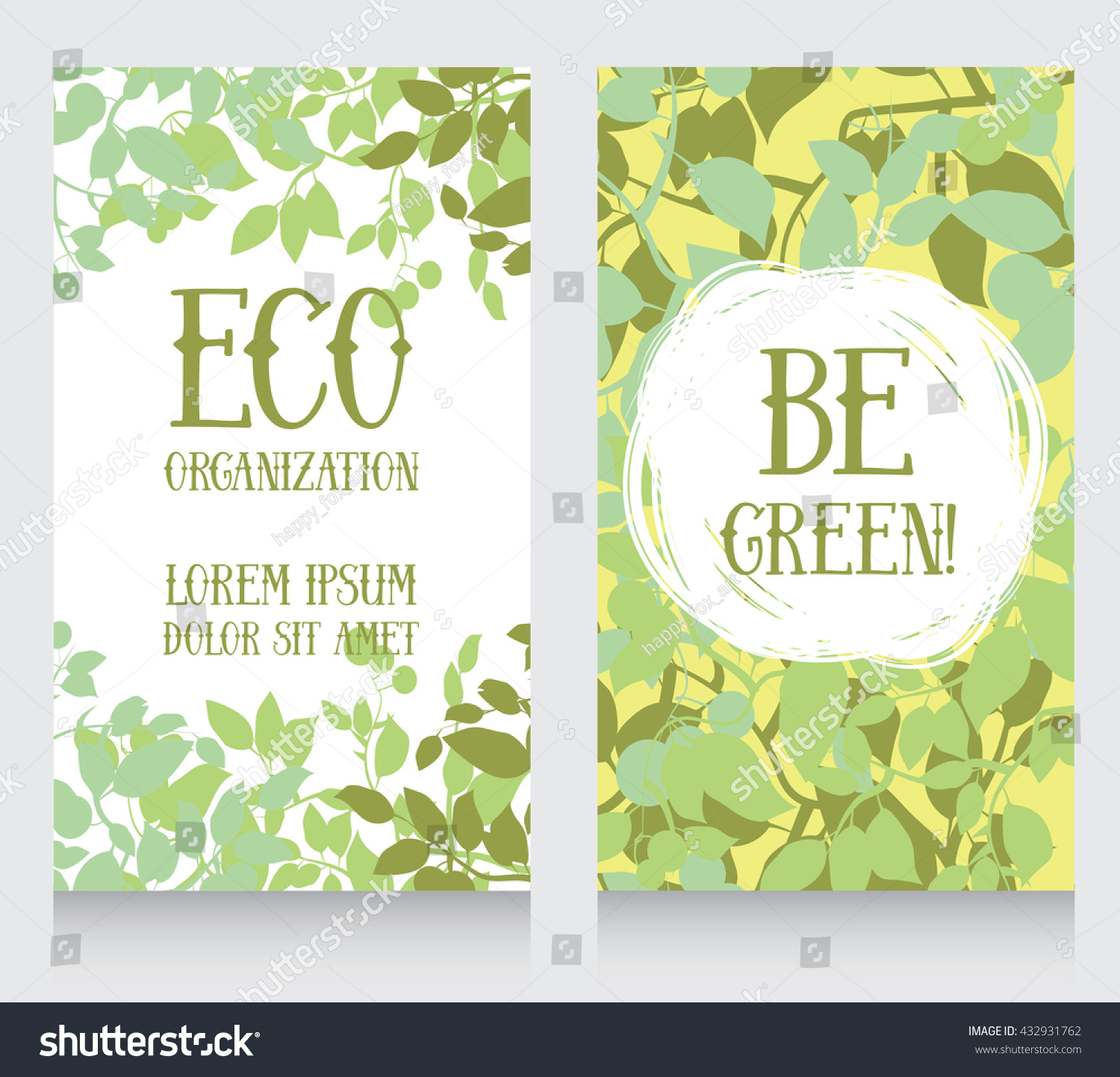 Business Card Template Leaves Decor Ecology Stock Vector (2018 ...