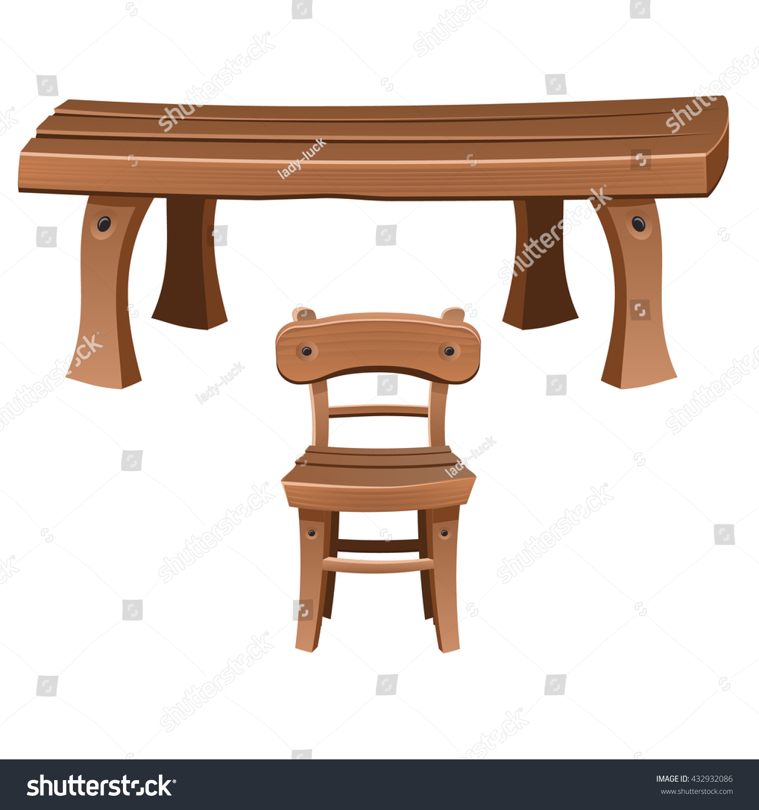 Set Wooden Furniture Chair Table Vector Stock Vector
