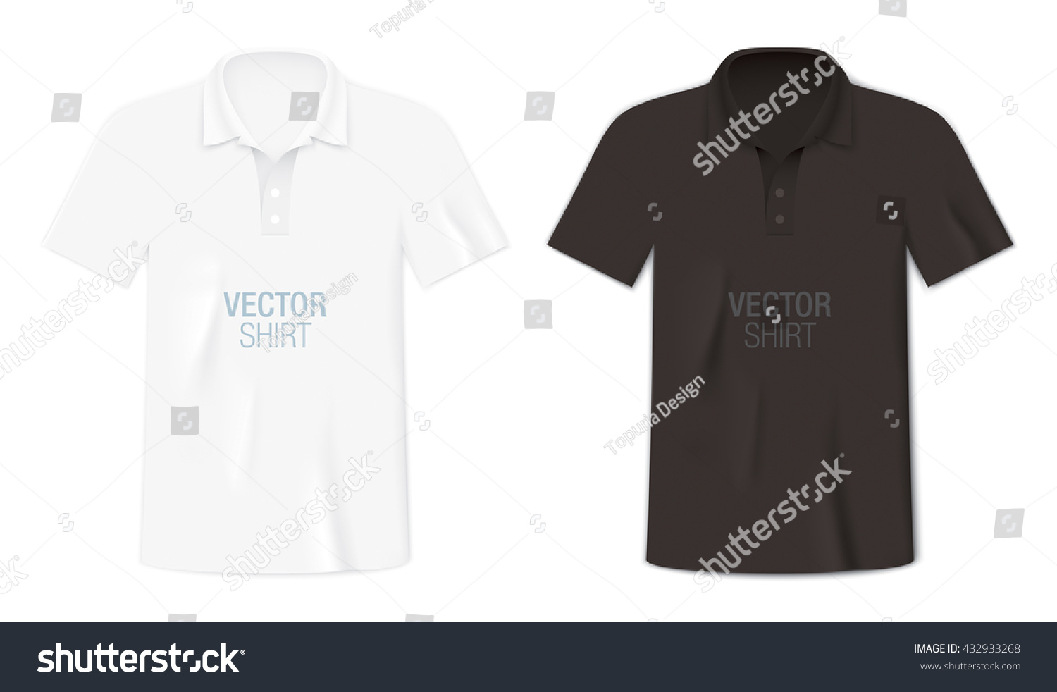 Black White Short Sleeve Polo Shirts Stock Vector 432933268 ...