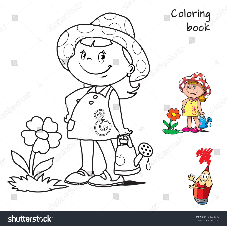 Cute Cartoon Little Girl Watering Flower Stock Vector