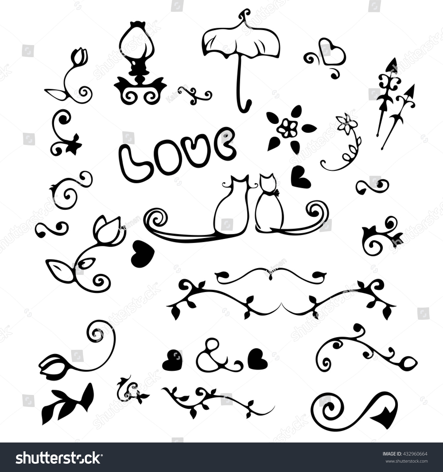 Love Design Hand Dawn Black Elements Stock Vector 432960664 ...