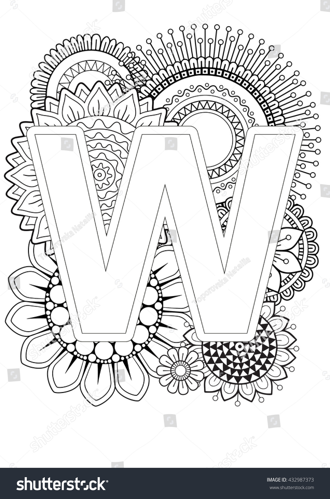 doodle floral letters coloring book stock vector 432987373