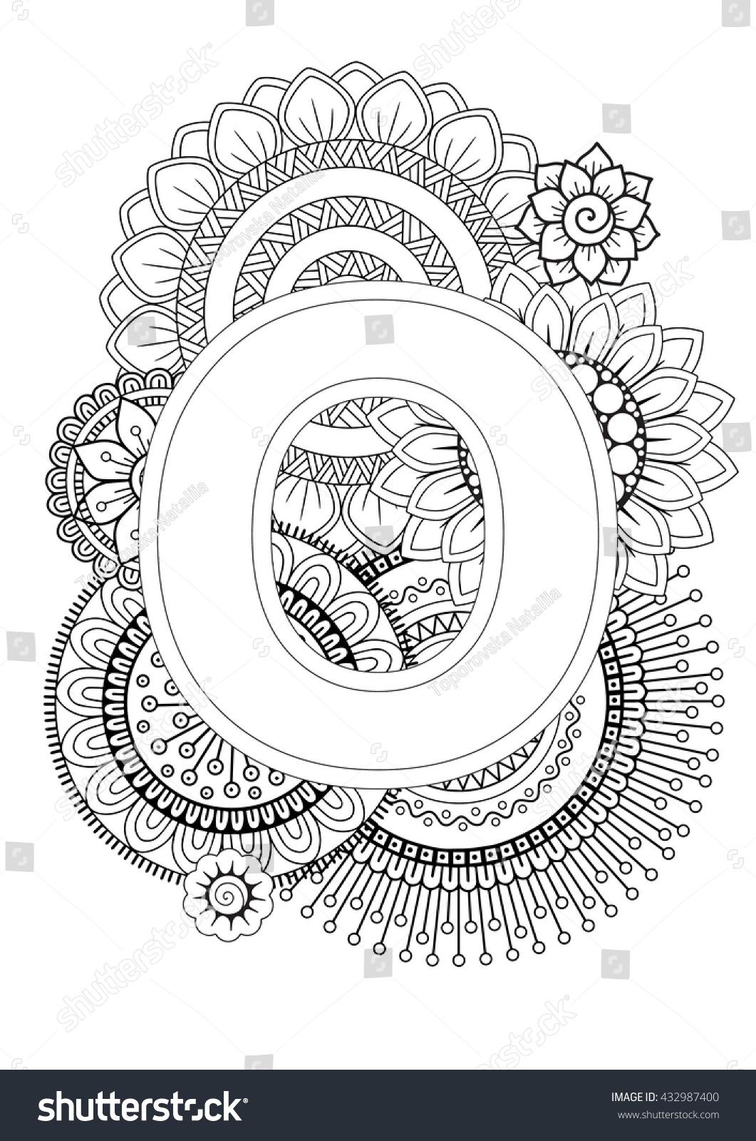 doodle floral letters coloring book adult stock vector 432987400 shutterstock. Black Bedroom Furniture Sets. Home Design Ideas