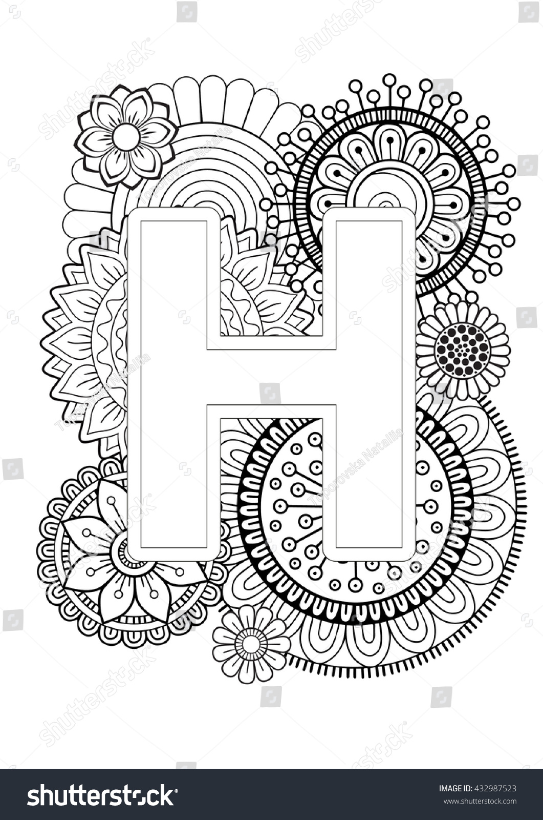 Doodle Floral Letters Coloring Book Adult Stock Vector (2018 ...