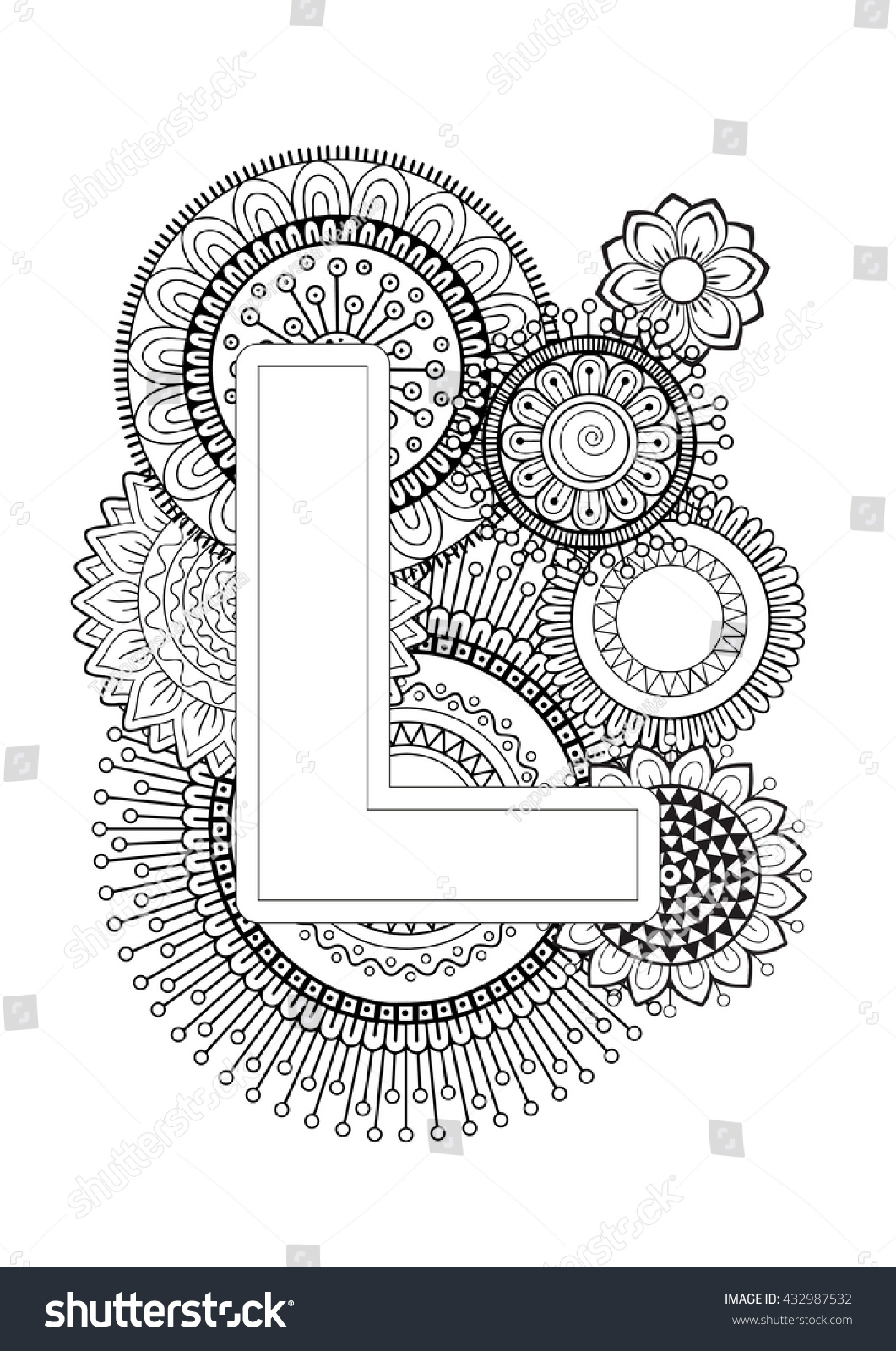 Coloring pictures for adults letters - Doodle Floral Letters Coloring Book For Adult Mandala And Sunflower Abc Book