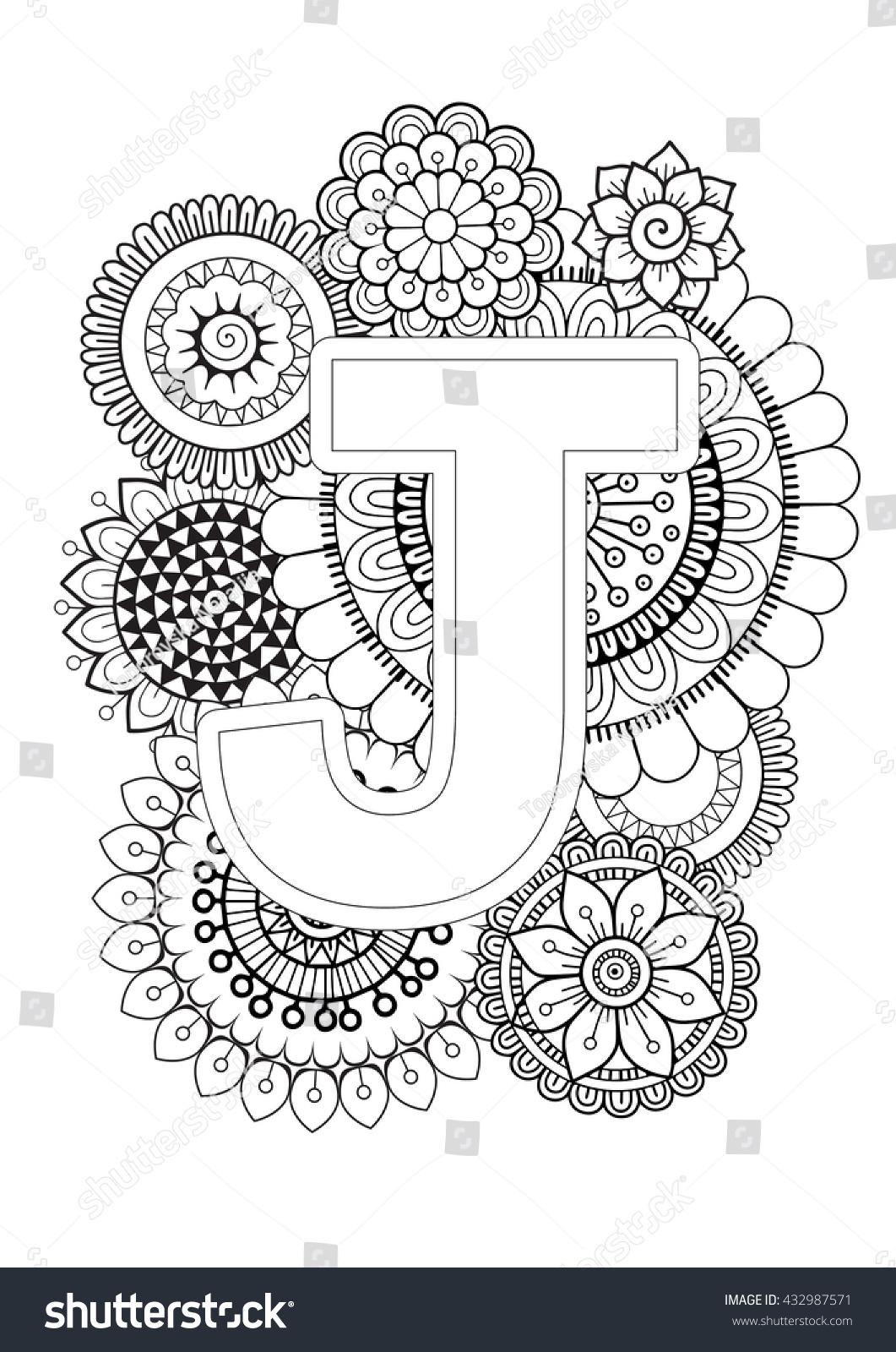 doodle floral letters coloring book adult stock vector 432987571 shutterstock. Black Bedroom Furniture Sets. Home Design Ideas