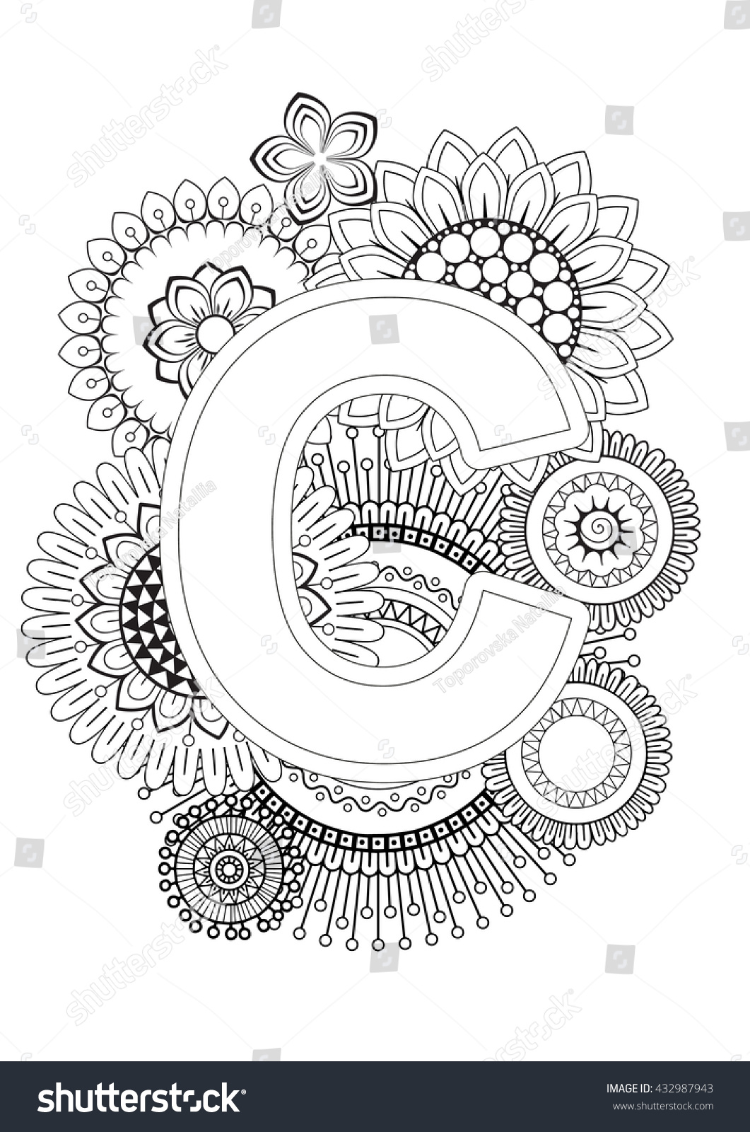 Doodle Floral Letters Coloring Book For Adult Mandala And Sunflower ABC Isolated