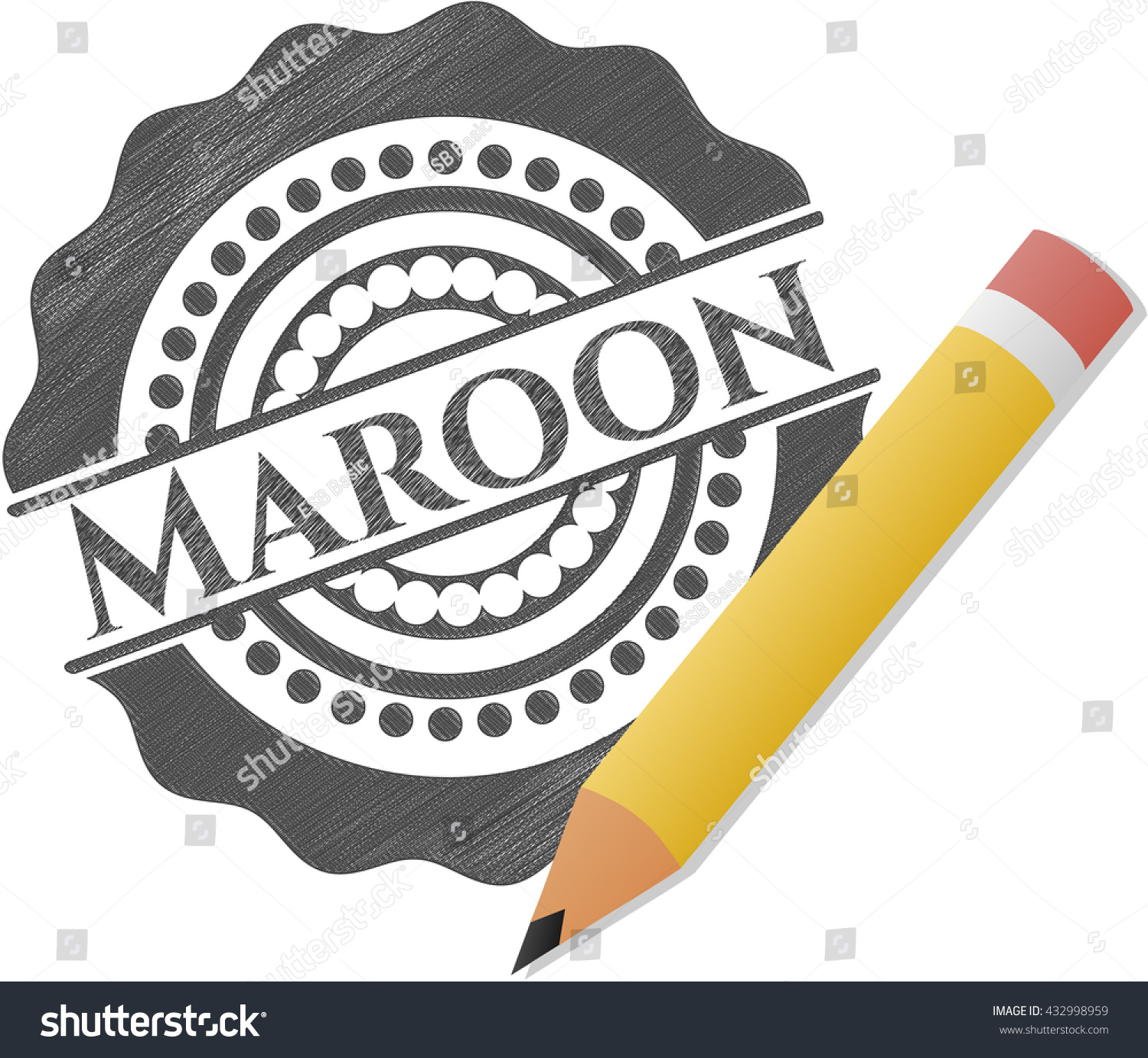 Maroon draw with pencil effect