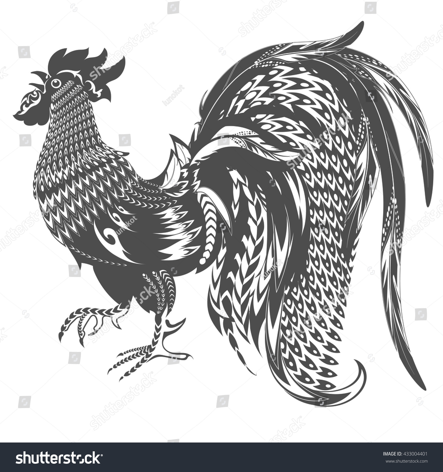 Rooster tattoo decorative bird doodling style stock vector 433004401 shutterstock - Cock designing ...