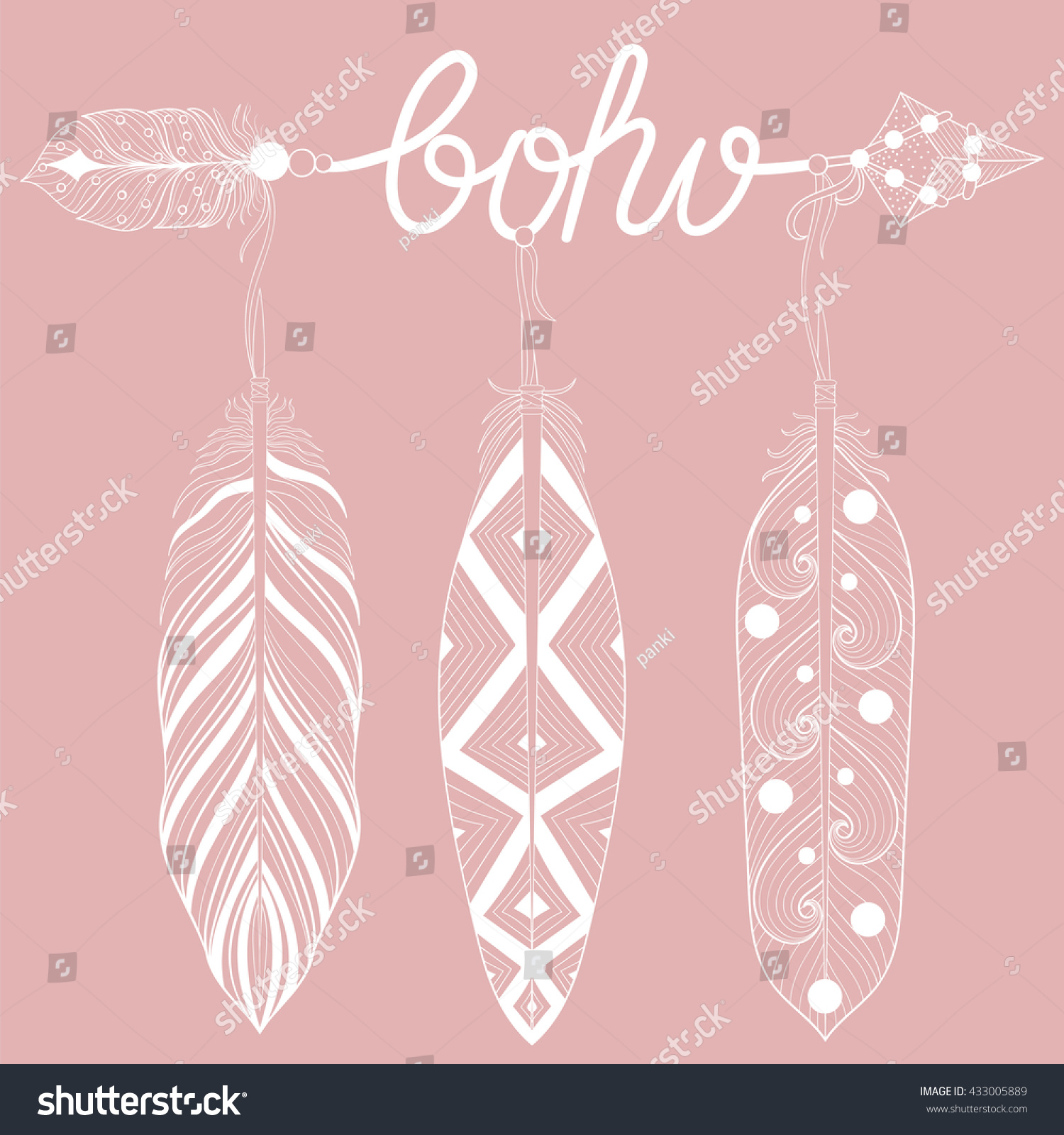 Bohemian Arrow On Pink Background Letters Stock Vector (Royalty Free ...